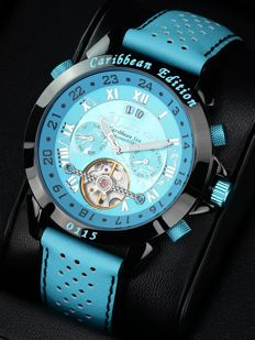 Calvaneo 1583 Astonia – Caribbean Edition with 3D Islands – men's watch – new