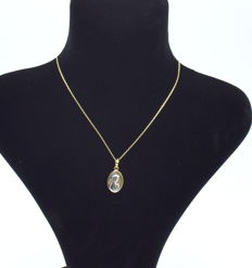 14 k chain with Virgin Mary - 46 cm