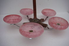 Art Deco chandelier with pink flamed shades