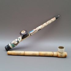 Lot of two bone opium pipes with metal boilers - china, 2nd half of 20th century