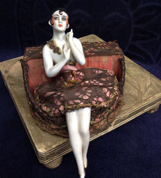 Art Deco storage box with a porcelain half doll of a distinguished lady, 1930s, probably from France