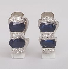 18 kt white gold earrings with 2.60 ct sapphires and diamonds - length:  20mm x 6mm.