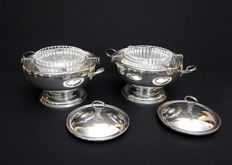 Pair of sterling silver caviar dishes - ITALY, XX c.