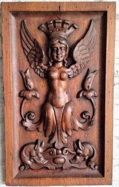 Richly carved wooden panel - France - end of 19th century