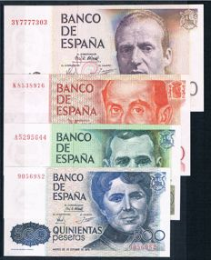 Spain - 500, 1,000, 2,000 and 5,000 Pesetas 1979/1980 - Pick 157, 158, 159 and 160
