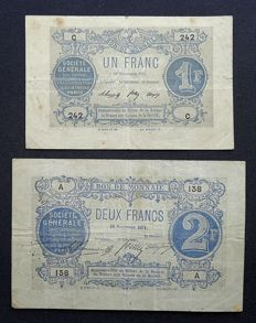 France - French War Emergency Issues, Société Générale - 1 and 2 Francs 18/11/1871