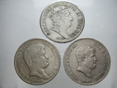 Kingdom of the Two Sicilies - Piastre, 120 Grana, 1818, 1836 and 1855 - Ferdinand I and II (3 coins) - Silver