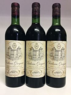 1969 Chateau Greysac, Medoc, France , 3 bottles 0,75l