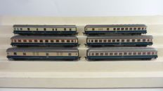 Roco H0 - 4256/4257/4258/4262/4287/4288 - 6 express train - luggage/passenger/post carriages 1st/2nd class IC of the DB, partly with interior lighting