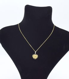 14 k gold chain with Heart Pendant - 46 cm