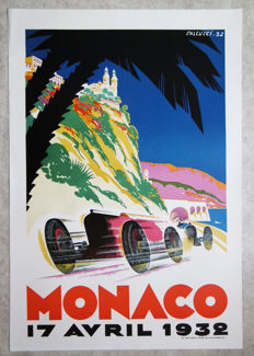 Large serigraphy of the Grand Prix Automobile of Monaco - Falcucci - 1932