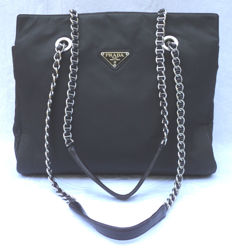 Prada - Vintage Dark Brown Nylon Double Chain shoulder Bag