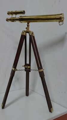 Rare telescope of dual display, in bronze and wooden tripod, English origin, 70 cm high