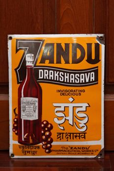 Enamel Sign ZANDU (Pharmaceutical Products) - Enameled in Japan, for Indian Market - 1930ies