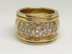 18 kt gold ring – Size 12 (Spain) – 17.2g – Diamonds