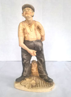 Curio; Sculpture of an old Man showing his penis - 2nd half 20th century