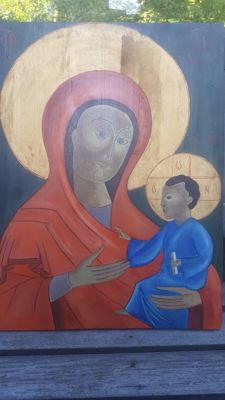Icon Mary with child Jesus-painted on Oak-