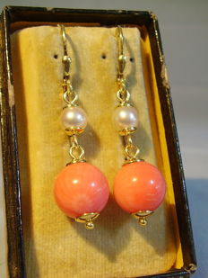 Earrings with genuine white salt water pearls and big coral beads