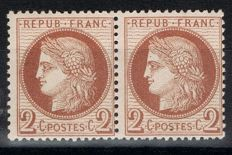 France 1872 - Pair of Cérès 2c with large numbers - Yvert no. 51b