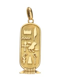 18 kt yellow gold Egyptian pendant with hieroglyphs - length: 3.9 cm