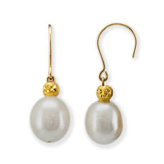 Yellow gold 18 kt/750 - Earrings - Freshwater pearls of 9.00 mm - Earring height 28.50 mm