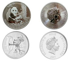 Niue - 2x$2 - Disney Mickey Mouse - Steamboat Willie 2017 - Niue Panda 2017 - 2x 1 oz Niue Island 999 silver coin