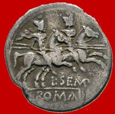 Roman Republic - L. Sempronius Pitio silver denarius (3,69 g. 18 mm.) minted in Rome, 148 B.C. The Dioscuri riding right.