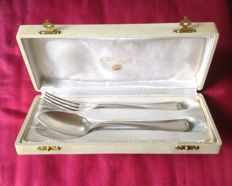 Children's boxed cutlery set - Christofle - France - 20th century.