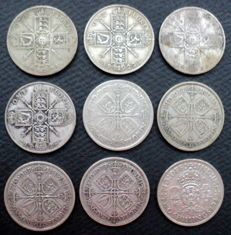 United Kingdom - Florins (Two Shillings) 1921/1942 George V and VI (9 pieces) - silver