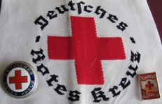 2 original German badges: 3rd Reich German Red Cross and 1 Red Cross armband