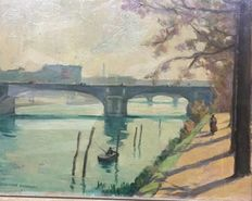 Oil on cardboard by Georges Descours (1889-1964);  - Il  ponte sulla Senna con figure;