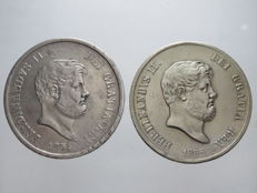 Kingdom of Two Sicilies - Piastra of 120 Grana, 1854 and 1856, Ferdinando II (one with a knurled edge) - silver