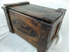 Old wooden printed box by FORD, 1960s