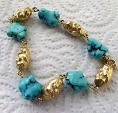18 ct Gold and Tuquoise Bracelet