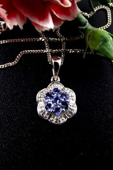 White gold necklace with tanzanites and diamonds, no reserve price.