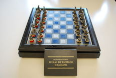 Franklin Mint - Chess Set - Battle of Waterloo - pewter chess set with documentation