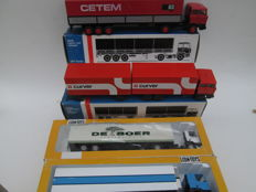 "Lion Toys - Scale 1/50 - Lot with 4 models:  DAF 3300 ""Cetem""- DAF 3300 ""Curver"" - DAF 75CF ""DE Boer"" - DAF 85CF misprint"