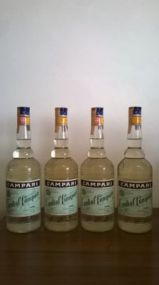 Four old bottles of Cordial Campari raspberry liqueur - bottled in 1980s