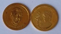 Great Britain - Lot of 2 medals 'Princess Diana' & 'Prince Charles' - Gold