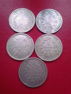France – 5 'Hercules' Francs 1849/1877  (lot of 5 coins) – Silver
