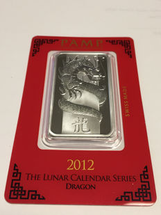 Switzerland - Pamp Suisse - 1 ounce 999 silver bar - Lunar Year of the Dragon - 2012
