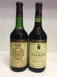 1970 Chateau Gruaud-Larose Grand Cru Classe & 1974 Chateau Talbot Grand Cru Classe, Saint-Julien, France - 2 bottles 0,73l