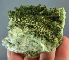 New find Terminated Green Diopside Crystals Bunch with Zoisite - 70 x 62 x 34mm - 153 gm
