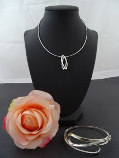 Silver jewellery set, 925k, 39 cm & 6 cm