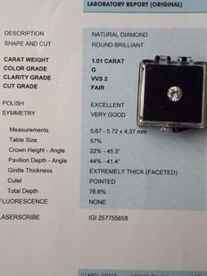 1.01 ct brilliant cut diamond - G VVS2 - IGI certificate