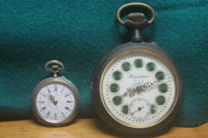 Lot of 2 pocket watches - Regulateur men´s watch -  pocket watch, 10 rubis, marked silver 800 with a crown
