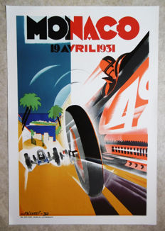 Large serigraphy of the Grand Prix Automobile of Monaco - Falcucci - 1931