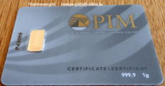 1 pc. gold bar 1g Nadir PIM GOLD fine gold, fineness 999.9/1,000; 24 Karat Gold bar Bullion, LBMA certified