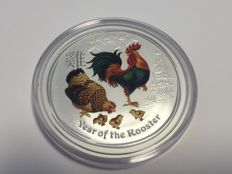 Australia -  2 AUD - 2 oz Lunar II Year of the Rooster  - 2 oz - 999 Silver in Fine Colour Edition