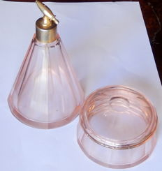 Art Deco Bohemian pink crystal set of perfume atomizer and powder jar